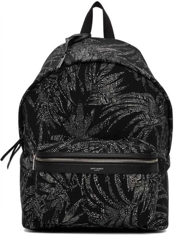 Saint Laurent Black & White Palm Print City Backpack