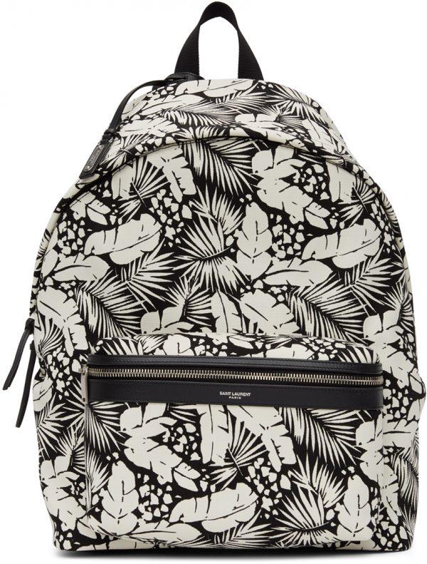 Saint Laurent Black & White Printed City Backpack