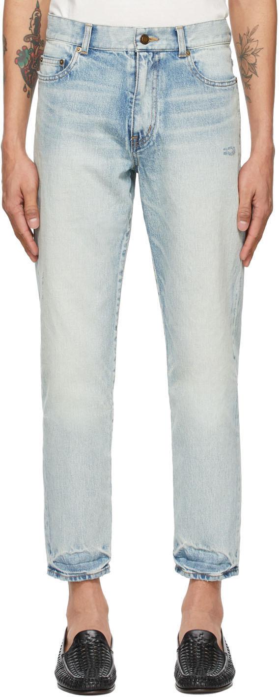 Saint Laurent Blue Carrot-Fit Jeans