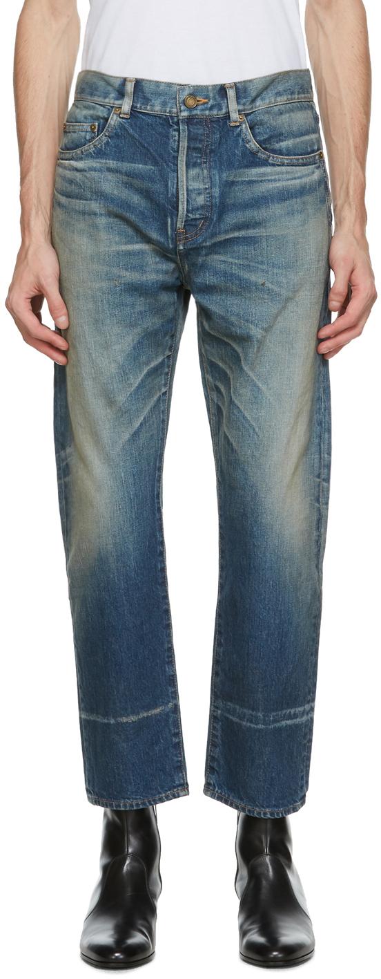 Saint Laurent Blue Staight-Cut Jeans