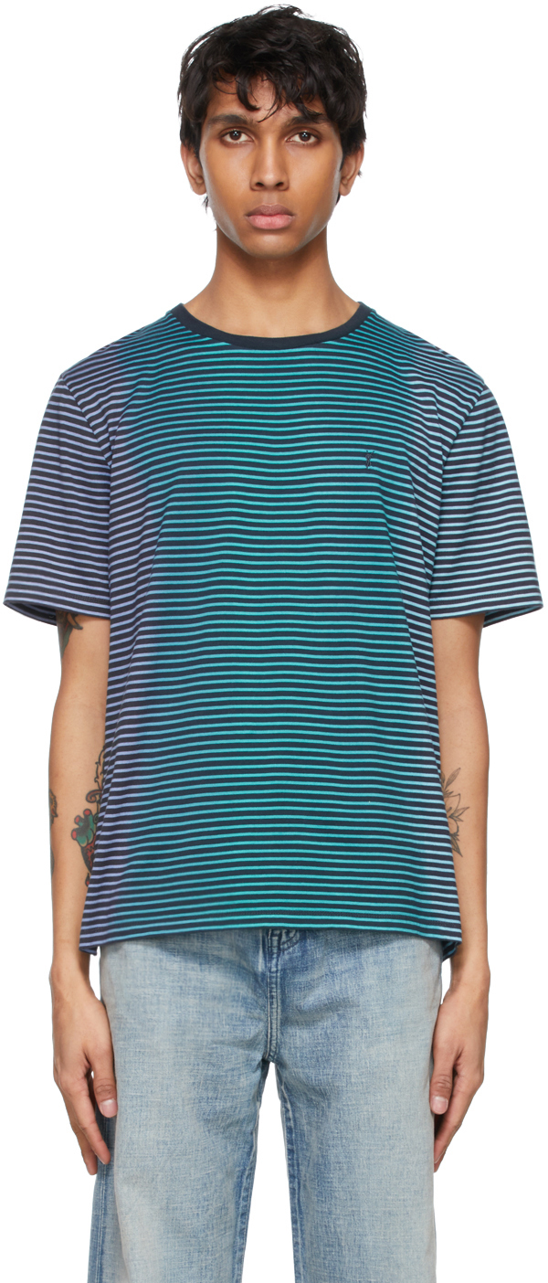 Saint Laurent Blue Tie-Dye Stripe Monogramme T-Shirt