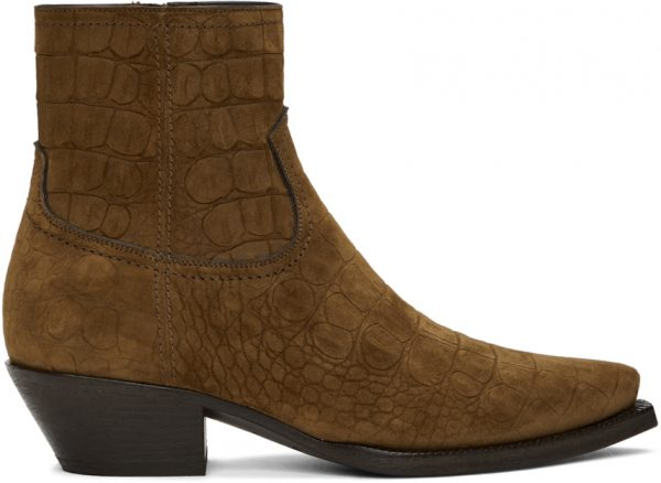 Saint Laurent Brown Croc Suede Lukas Boots