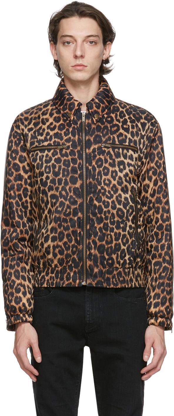 Saint Laurent Brown Fauve Leopard Bomber Jacket
