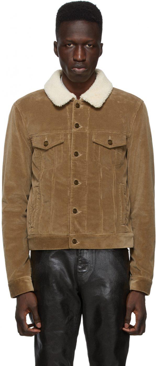 Saint Laurent Brown Shearling & Corduroy Trucker Jacket