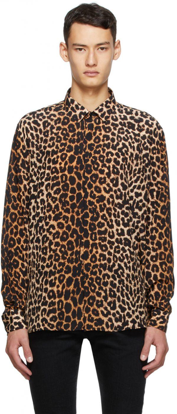 Saint Laurent Brown Silk Leopard Shirt