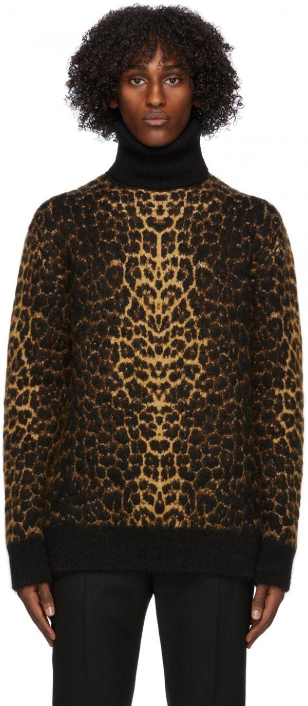 Saint Laurent Brown Wool & Mohair Leopard Turtleneck