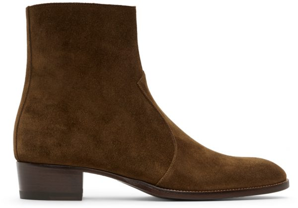 Saint Laurent Brown Wyatt Zipped Boots