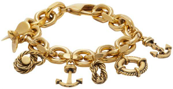 Saint Laurent Gold Nautical Charm Bracelet