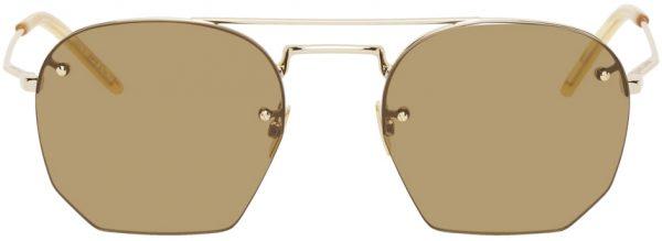 Saint Laurent Gold & Brown SL 422 Sunglasses
