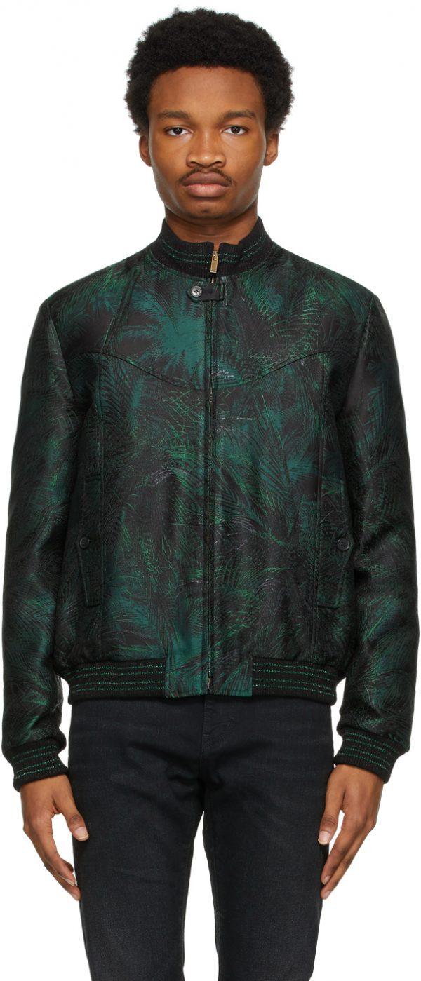 Saint Laurent Green Jungle Damask Teddy Jacket