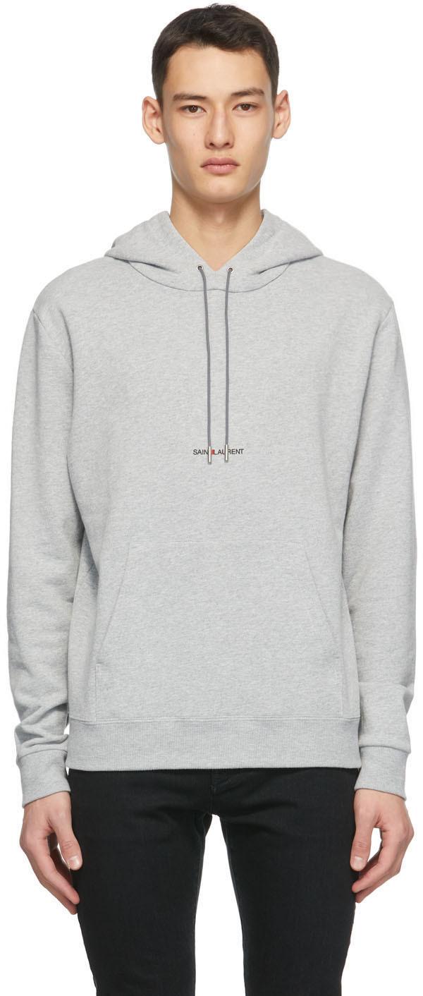 Saint Laurent Grey Classic Logo Hoodie