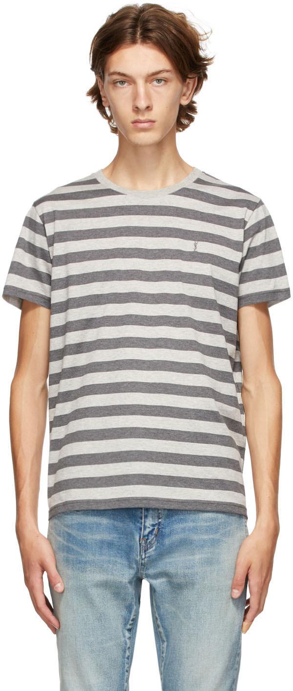 Saint Laurent Grey Stripe T-Shirt