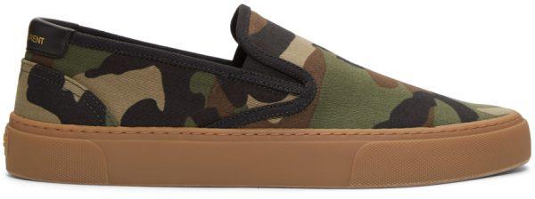 Saint Laurent Khaki Camo Venice Slip-On Sneakers