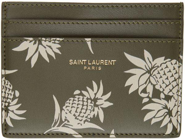Saint Laurent Khaki Graphic Card Holder