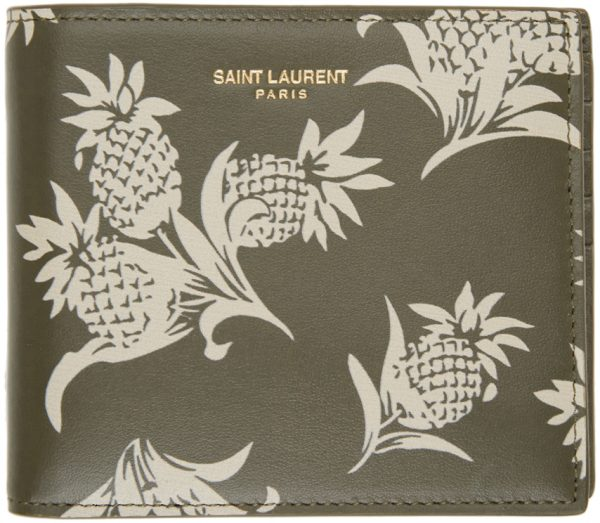 Saint Laurent Khaki Graphic East/West Wallet
