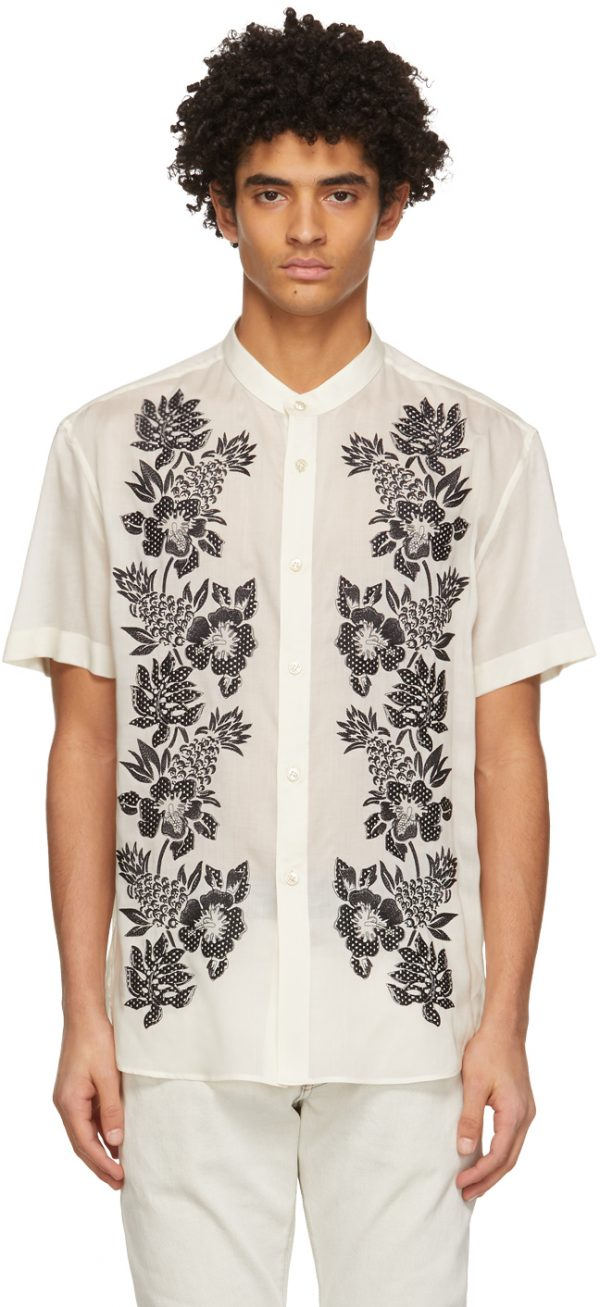 Saint Laurent Off-White Embroidered Tunic Short Sleeve Shirt