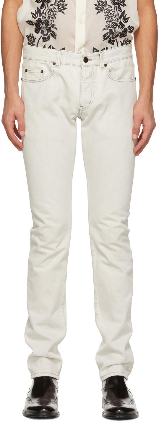 Saint Laurent Off-White Straight-Cut Jeans