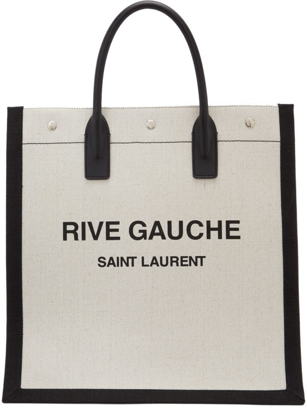 Saint Laurent Off-White & Black 'Rive Gauche' Tote