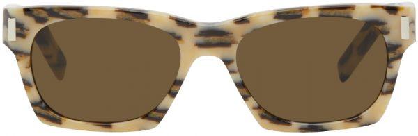 Saint Laurent Off-White & Brown Leopard SL 402 Sunglasses
