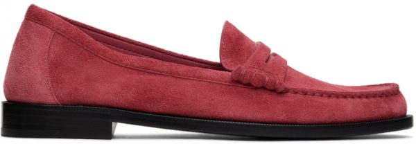 Saint Laurent Pink Suede 'Le Loafer Monogram' Penny Slippers