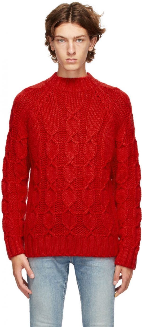 Saint Laurent Red Cable Knit Sweater