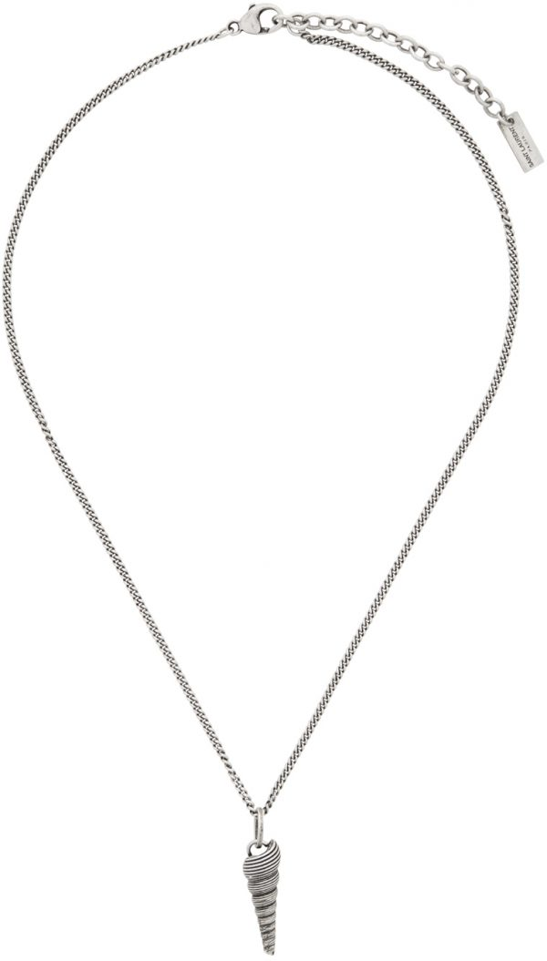 Saint Laurent Silver Auger Seashell Pendant Necklace