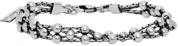 Saint Laurent Silver Beaded Bracelet