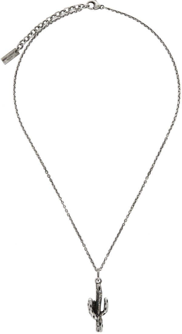 Saint Laurent Silver Cactus Pendant Necklace