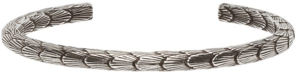 Saint Laurent Silver Feather Cuff Bracelet