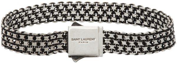 Saint Laurent Silver Metal Weave Bracelet