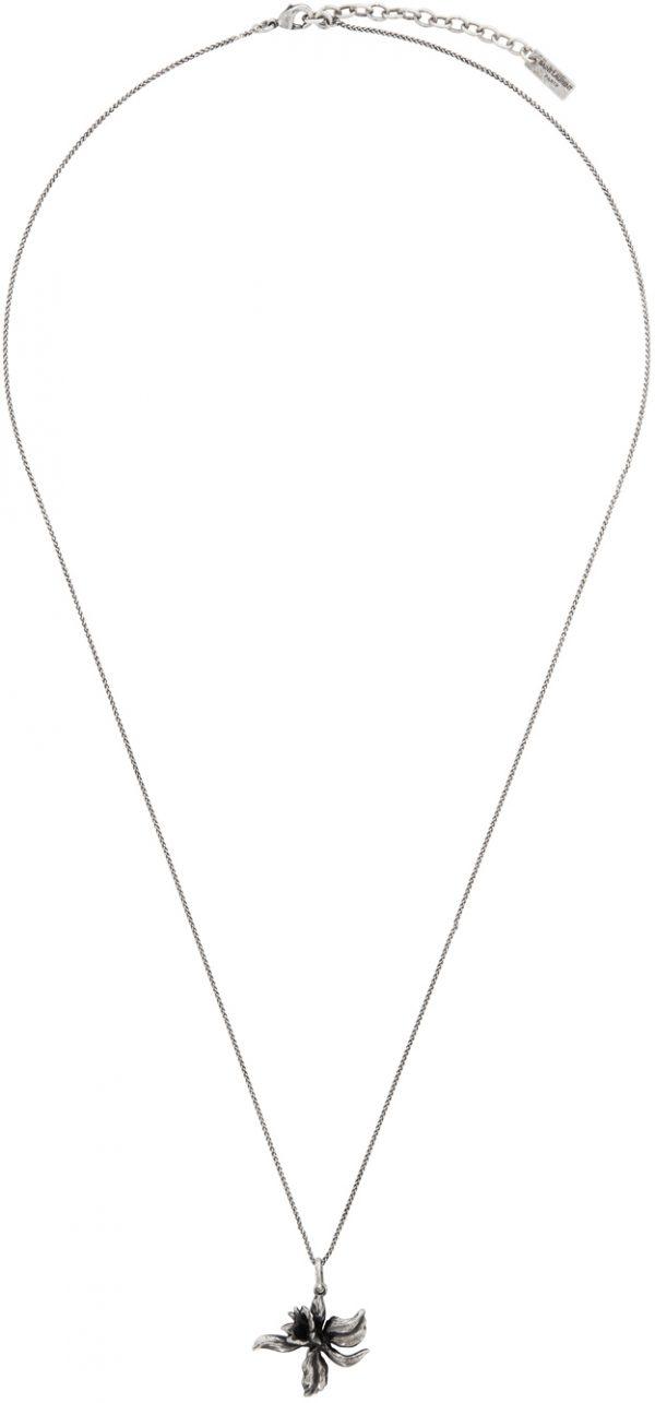 Saint Laurent Silver Orchid Pendant Necklace
