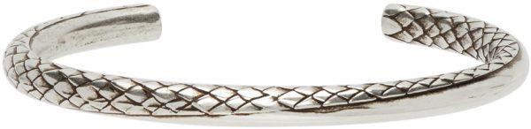 Saint Laurent Silver Small Snake Twist Cuff Bracelet
