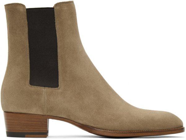 Saint Laurent Tan Wyatt Chelsea Boots