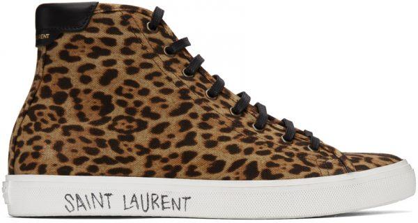 Saint Laurent Tan & Brown Leopard Malibu Mid-Top Sneakers