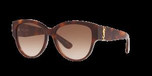 Saint Laurent Unisex YS000068 - Frame color: Tortoise, Lens color: Brown, Size 55-16/140