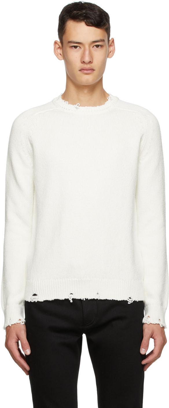 Saint Laurent White Distressed Sweater