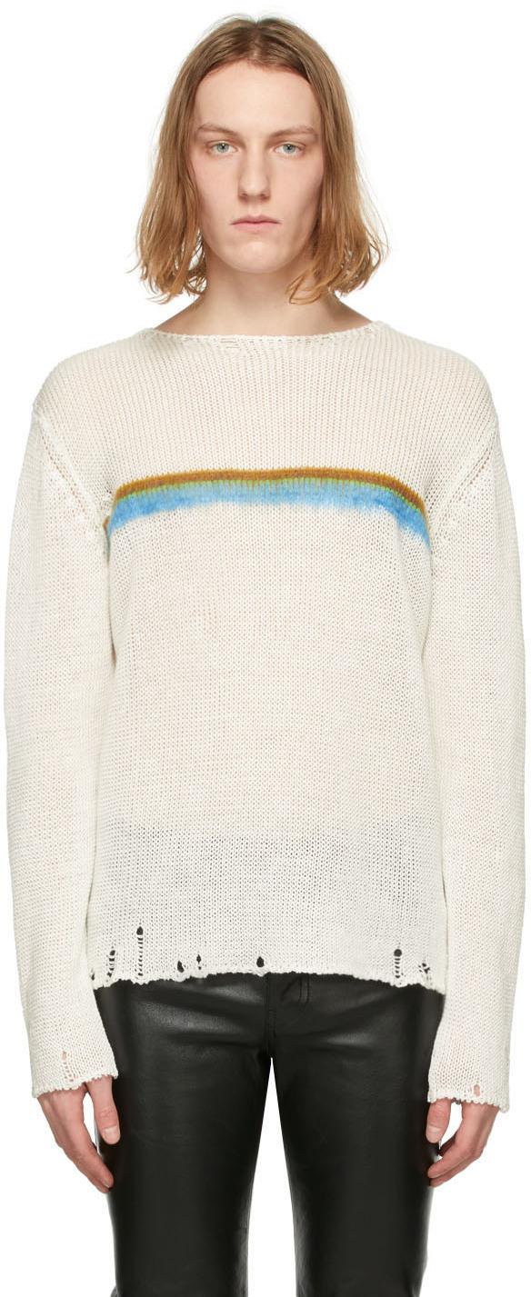 Saint Laurent White Linen Destroyed Stripe Sweater