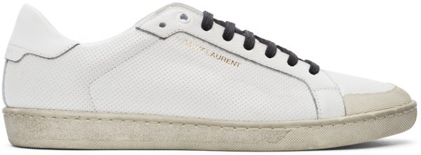 Saint Laurent White Perforated Court Classic SL/06 Sneakers
