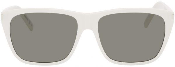 Saint Laurent White SL 431 Slim Square Sunglasses