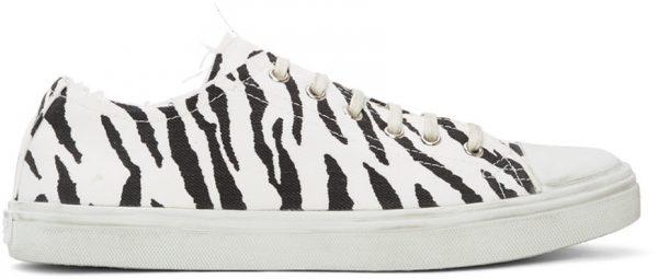 Saint Laurent White & Black Zebra Bedford Sneakers