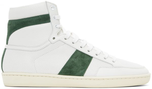 Saint Laurent White & Green Court Classic SL/10H Sneakers