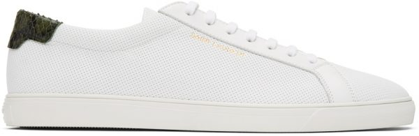 Saint Laurent White & Green Snake Andy Sneakers