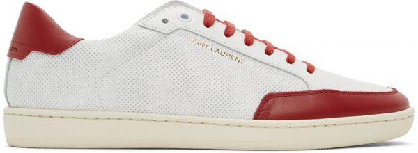 Saint Laurent White & Red Court Classic SL/10 Sneakers