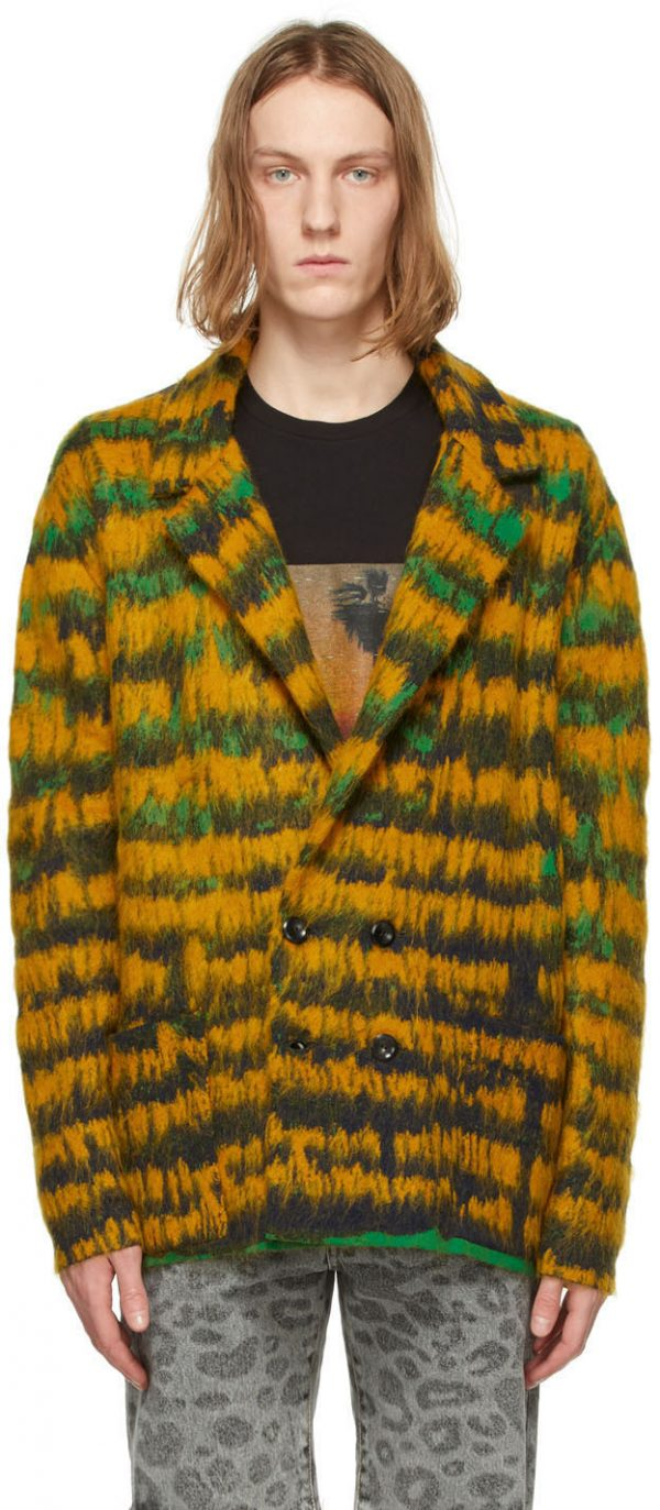 Saint Laurent Yellow & Green Abstract-Feather Double-Breasted Cardigan