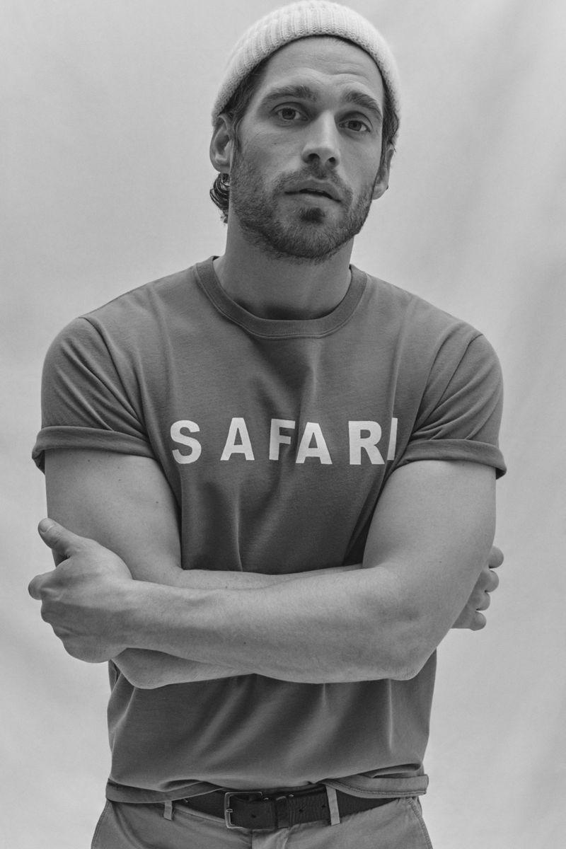 "Front and center, Simone Bredariol dons a ""Safari"" t-shirt from Seventy Venezia."