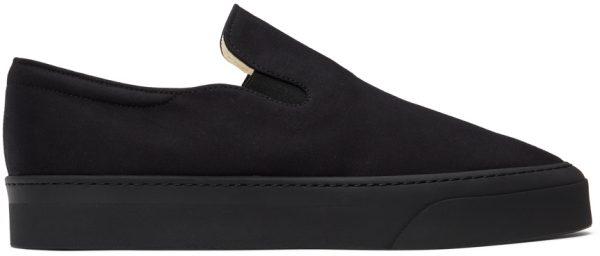 The Row Black Dean Slip-On Sneakers