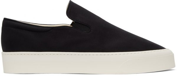 The Row Black & Off-White Dean Slip-On Sneakers