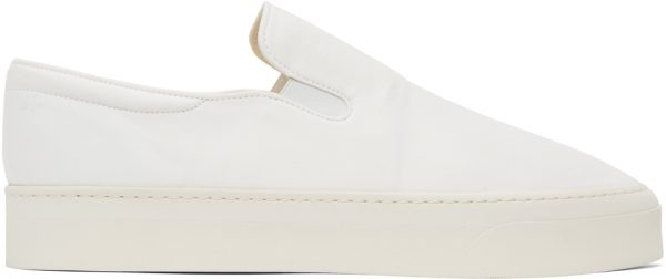 The Row White Dean Slip-On Sneakers