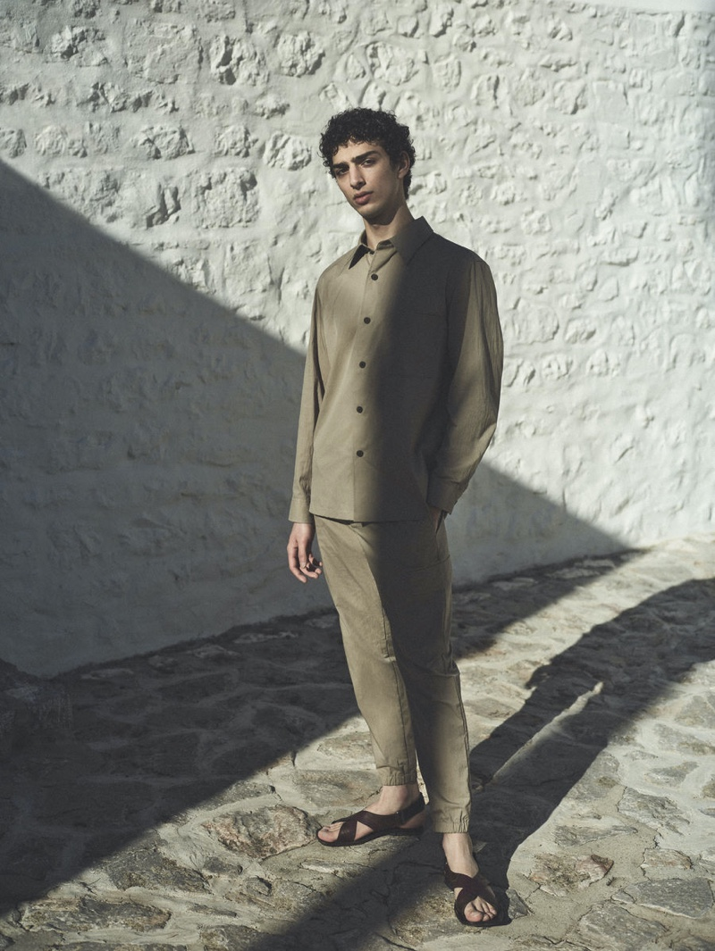 Front and center, Qaher Harhash appears in Theory's spring-summer 2021 campaign.