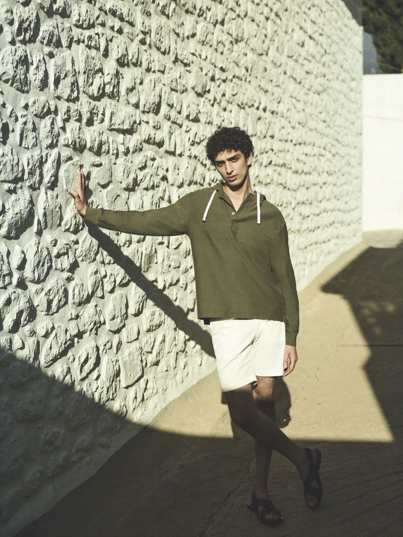 Qaher Harhash fronts Theory's spring-summer 2021 campaign.